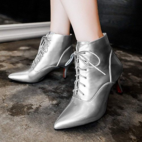 Silver up Pointed Winter Fashion Boots Toe Heels Women's Lace Stiletto Warm Ankle Artfaerie Shoes O0E4q4