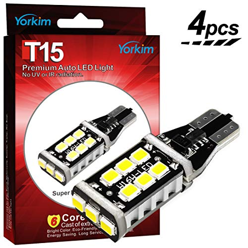 2010 Hyundai Wagon Elantra - Yorkim Extremely Bright 921 LED Bulbs CANBUS Error Free for Backup Lights Reverse Lights, High Power 15pcs 2835 SMD Chipsets T15 LED Bulbs - T15 912 921 906 W16W Wedge LED Bulb, Pack of 4 - White