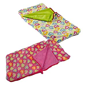 The Queen's Treasures Set of Two 18 Inch Doll Sleeping Bags, Pink and Green Super Soft Sleepover Party, Fits American Girl Dolls - Accessories & Furniture. Safety Tested!