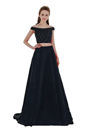 AIJIAYI Womens Bead Off Shoulder 2 Pieces Prom Dresses Sexy Evening Party Gown Long With Pockets