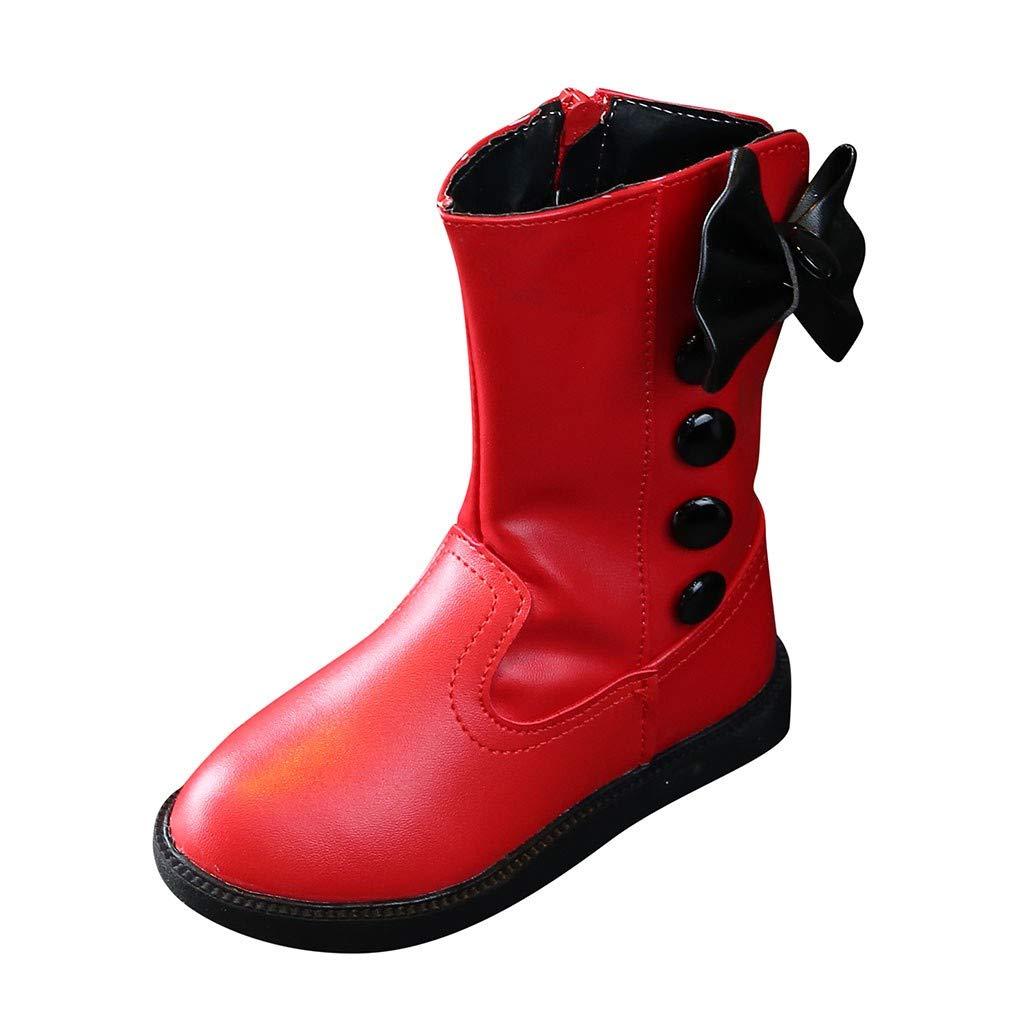 Toddler Little Big Girls Chelsea Bootie Bowknot Zipper Winter Snow Boots Waterproof Mid Calf Rain Boot Princess Shoes (Little Kids US:10, Red) by Dasuy