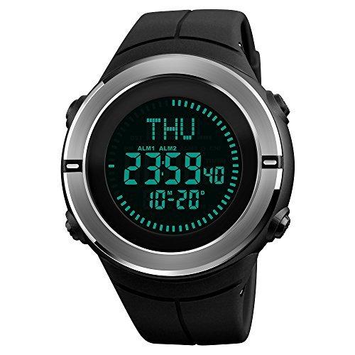 Multifunction World Time Sport Compass Watch  Farsler 50M Waterproof Luminous Mens Electronic Sport Watch  Fully Automatic Calendar Womens Outdoor Digital Sports Watch  Black