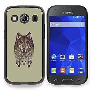 "Qstar Arte & diseño plástico duro Fundas Cover Cubre Hard Case Cover para Samsung Galaxy Ace Style LTE/ G357 (Lobo gris - Dreamcatcher"")"