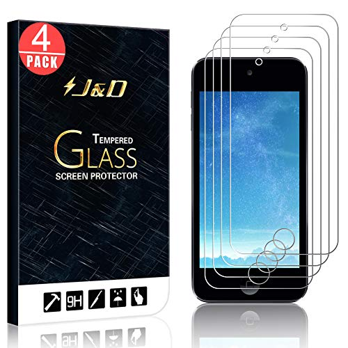 - J&D Compatible for 4-Pack iPod Touch 2019 Glass Screen Protector, [Tempered Glass] [Not Full Coverage] HD Clear Ballistic Glass Screen Protector for iPod Touch (Release in 2019) Screen Protector