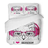 Emvency 3 Piece Duvet Cover Set Brushed Microfiber Fabric Head The of Owl in Glasses and Headphones Hipster Asia Batik Bird Club Dance Breathable Bedding Set with 2 Pillow Covers Full/Queen Size