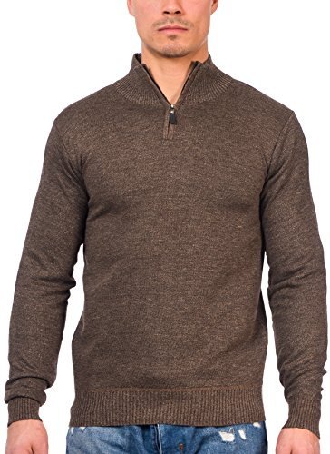 TR Fashion Men's Long Sleeve Soft Stretch Half-Zip Casual Pullover Sweater (Marled Brown, Small) ()