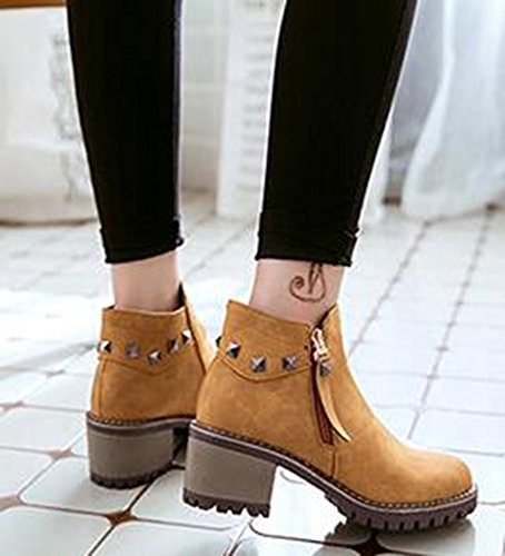 IDIFU Womens Casual Studded Round Toe Mid Chunky Heels Side Zipper Motor Ankle Boots Yellow yHvXI