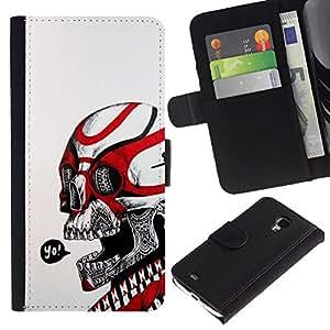 JackGot ( Cráneo Yo Rojo Blanco tribal del motorista de la Muerte ) Samsung Galaxy S4 Mini i9190 (NOT S4) la tarjeta de Crédito Slots PU Funda de cuero Monedero caso cubierta de piel