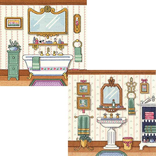 Janlynn Victorian Bathroom Counted Cross Stitch Kits: Victorian Sink, Victorian Bath, and Gift Cards