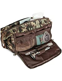 DOPP Kit Mens Toiletry Travel Bag YKK Zipper Canvas & Leather (Large, Woodland Camo)
