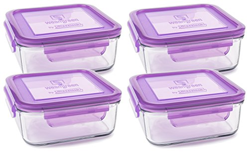 (Wean Green Set of 4 Meal Cubes - Eco-Friendly BPA-Free Durable Glass Food Container - 28 Ounces Grape)