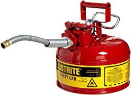 Justrite 7210120 AccuFlow 1 Gallon, Galvanized Steel Type II Red Safety Can With 5/8\