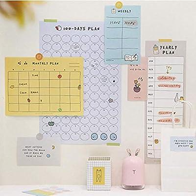 domiluoyoyo 2020 Plan de estilo simple, papel bonito, calendario de cuenta atrás de 100 días, aprendizaje regular, planificador de tiempo de fitness, estudio de trabajo, plan diario, calendario de mesa, juego de