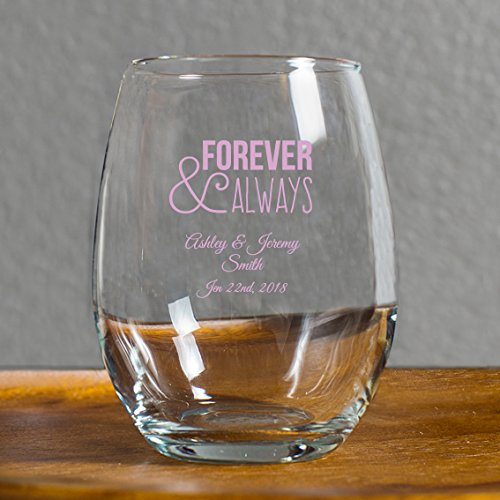 144 Pack Forever and Always Stemless Wine Glasses, 9 Ounce Personalized Wine Glass Printed in Pink, Anniversary Wedding Favors, Housewarming Gifts For New Home