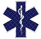 Star of Life Blue Diamond Plate Decal - 2 in. Decal
