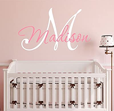 Nursery Custom Name and Initial Wall Decal Sticker, Girl Name Wall Decal, Girls Name, Wall Decor, Personalized, Girls Name Decor, Girls Nursery Bedroom Baby Decor PLUS FREE WHITE HELLO DOOR DECAL