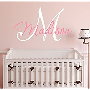 Amazon.com: Nursery Custom Name and Initial Wall Decal Sticker 34\