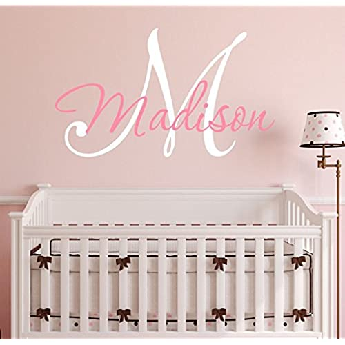 Nursery custom name and initial wall decal sticker 23 w by 17 h girl name wall decal girls name wall decor personalized girls name decor