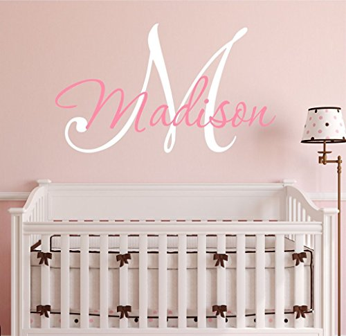 "Nursery Custom Name and Initial Wall Decal Sticker 34"" W by 25"" H, Girl Name Wall Decal, Girls Name, Wall Decor, Personalized, Girls Name Decor, Nursery Bedroom Baby Decor PLUS FREE HELLO DOOR DECAL from Decor Designs Decals"