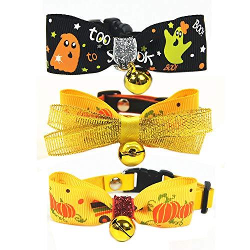 Benala Halloween Dog Cat Bow Tie-Dog Halloween Tie-Pet Collar Halloween Boutique-Dog Bowtie Holidays Random-2Pcs,XL:(Neck 14.5-25.5