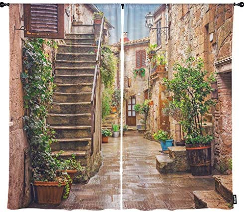 Mugod Alley Window Curtains Old Town Pitigliano Tuscany Italy Street Green Vegetation Black Out Window Treatment Curtains Polyester 2 Panel Set for Kitchen Living Room 108 W x 96 H Inch