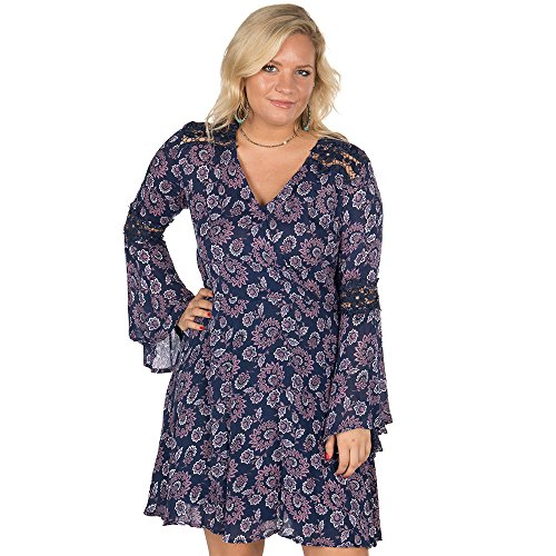 Rock & Roll Cowgirl Women's and Swirl Floral Print A-Line Dress Navy (Floral Swirl Print Dress)