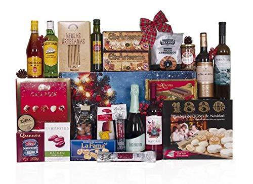 Lote de navidad con surtido de embutidos y queso semicurado, botella de whisky, ron