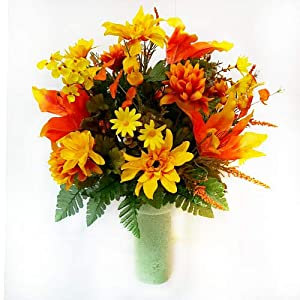 Designs by Ellis Fall Yellow & Orange Mums Cemetery Cone 8