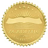 Academic Excellence Embossed Gold Foil Certificate Seals, 2 Inch, Self Adhesive, 102 Count