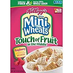 Kellogg\'s, Frosted Mini Wheats, Touch of Fruit in the Middle, Raspberry, 15oz Box (Pack of 4)