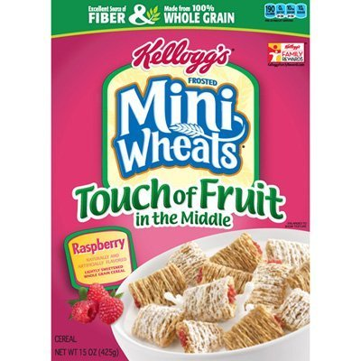 Kellogg's, Frosted Mini Wheats, Touch of Fruit in the Middle, Raspberry, 15oz Box (Pack of 4)