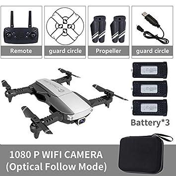 Silverdrew Plegable 2.4GHz WiFi FPV Drone 1080P Cámara RC Drone ...