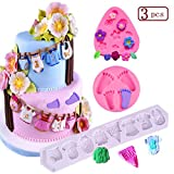 Baby Cake Fondant Mold,3D Silicone Baby Feet/Baby Clothes/Mini Flower Silicone Mold,(Set of 3) Baby Shower Theme Cake Decorating Mold,Chocolate Mold Baking Tool
