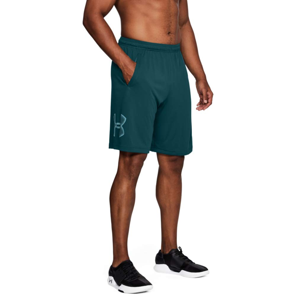 Under Armour Men's Tech Graphic Shorts , Tourmaline Teal (716)/Tropical Tide, Small by Under Armour