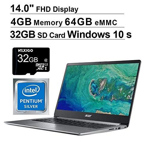 🥇 Acer Swift 1 14 Inch NonTouch FHD 1080P Laptop| Intel Pentium N5000 up to 2.7 GHz| 4GB RAM| 64GB eMMC| HDMI| Webcam| Windows 10 Home S + NexiGo 32GB SD Card Bundle