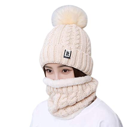 d0c5b3944fa Amazon.com  EnjoCho Fashion Winter Hat Scarf Set for Women Girls Warm  Beanies Ring Scarf Pompoms Winter Hats Knitted Caps and Scarf 2 Pieces Set  (Beige)  ...