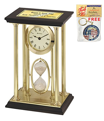 Personalized Engraved Clock Presidential Gold Brass Pillars Tower Desk Table Clock Sand Timer Employee Service Award Retirement Gift Wedding