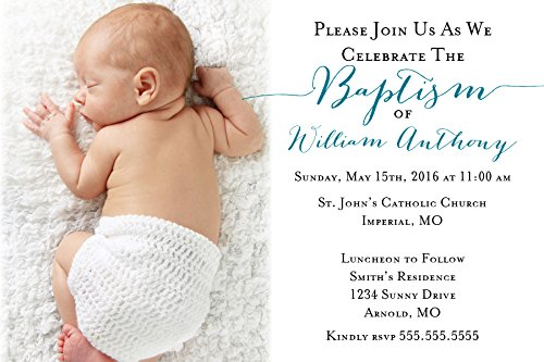 Custom - Baptism Invitation - With Photo - Blue Lettering