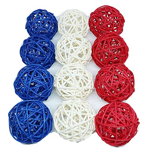 Thailand's Gifts : Small Blue, White, Red Rattan Ball, Wicker Balls, DIY Vase And Bowl Filler Ornament, Decorative Spheres Balls, Perfect For Decoration On Any Occasion 2-2.5 inch, 12 Pcs. -