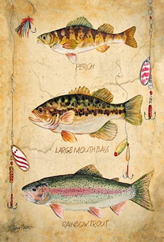 (Toland Home Garden Fresh Fish 28 x 40 Inch Decorative Sport Fishing Lure Perch Bass Trout House Flag)