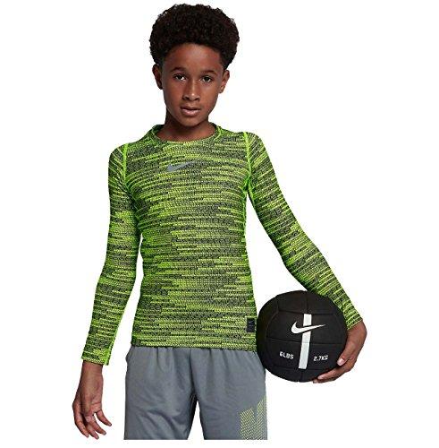 (Nike Big Boys' (8-20) Dri-Fit Pro Warm L/S Training Top-Volt-XS)