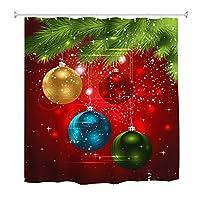 Goodbath Xmas Shower Curtain, Christmas Festival Colorful Ball Red Background Waterproof Bathroom Bath Curtains, 72 x 72 Inch