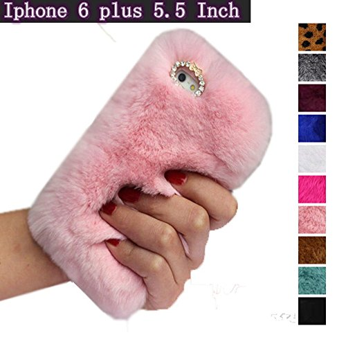 (Pink iPhone 6 6s Plus 5.5 Case, Fast Jewelry® ® Bling Crystal Rhinestone Design Fashion Colour Fluffy Soft Genuine Rex Rabbit Fur Winter Warm Case for Apple iPhone 6 Plus 5.5 Inch)