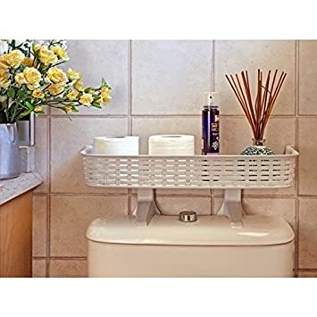 White Rattan Plastic Above Toilet Bathroom Space Saver Shelf