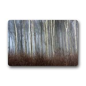 Custom diseño único árboles niebla en el bosque resistente a las manchas color interior/al aire libre Floor Mat felpudo (23,6x 39,88cm)