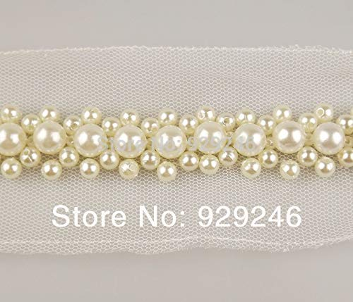 Lace Crafts - 2yards/lot 2.3cm Beaded Pearl lace Sewed in White mesh for Wedding Dress Women Mink Coat Garment Decoration Trims Accessory