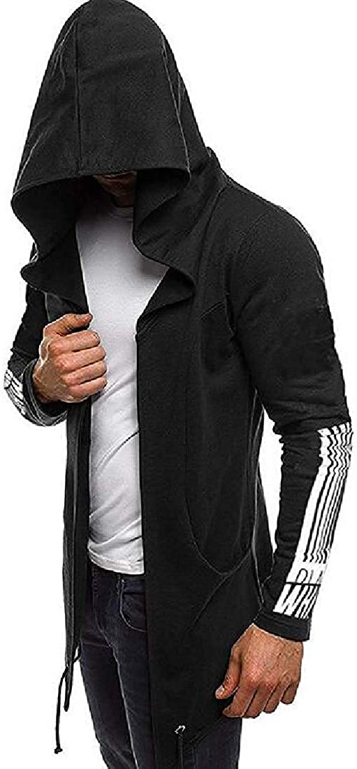 Xudcufyhu Mens Fashion Open Front Hooded Print Gothic Pockets Sweatshirt Jacket,Black,Small
