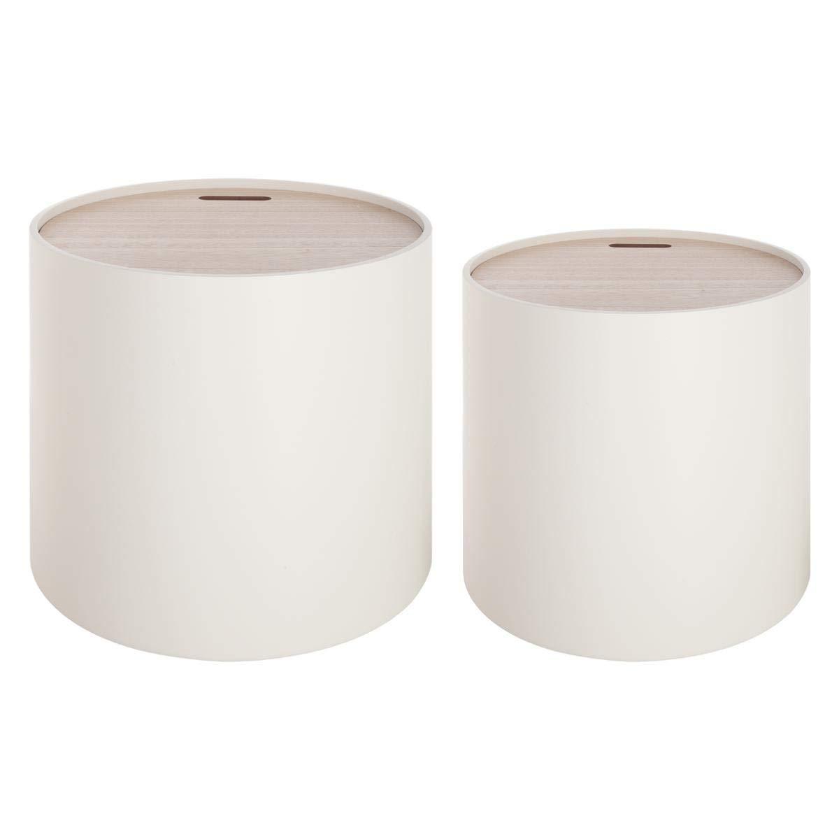 Set di 2 tavolini bassi sovrapponibili con funzione di contenitori - Stile moderno design - Colore: BIANCO ATMOSPHERA