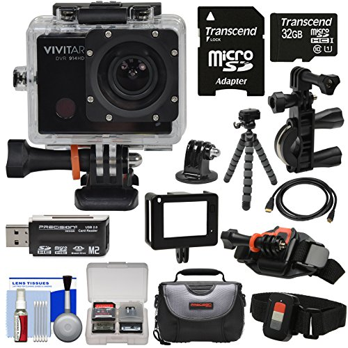 Vivitar DVR914HD 1440p HD Wi-Fi Waterproof Action Video Camera Camcorder (Black) + Remote, Vented Helmet & Bike Mounts + 32GB Card + Case + Tripod Kit