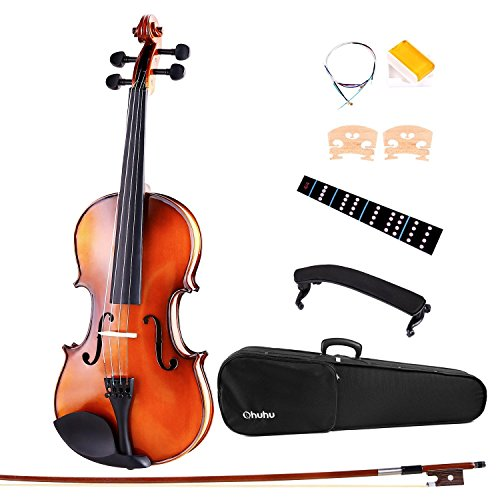 Ohuhu Full Size 4/4 Natural Violin Fiddle with Violin Case, Bow, Rosin and Bridge ¨C Student Violin Starter Kit (Antique)
